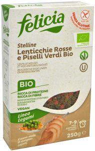 Felicia Stelline di Lenticchie Rosse e Piselli Verdi Bio 250 g.